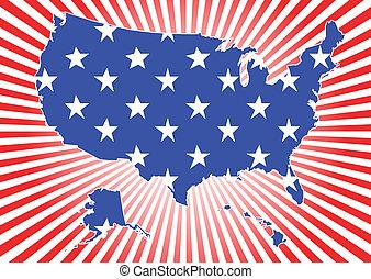 Map of US on burst background