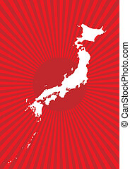 Map of Japan with burst background