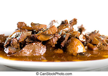 veal with mushroom sauce in a white plate