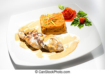Chicken breast with mashed sweet potatoes