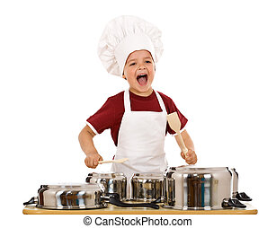 Happy chef shouting and banging the cooking pots with wooden...