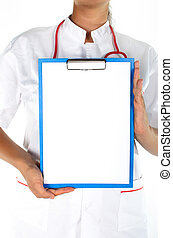 Medical sign - a female doctor showing clipboard with space for text