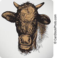 Animal cow, hand-drawing. Vector illustration.