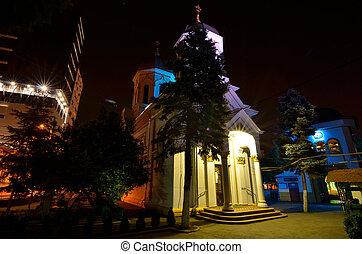 Church at night lights