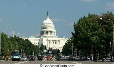 US Capitol, time lapse - Road leading up to the US Capitol...