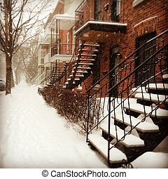 Snowstorm in Montreal - Sudden snowstorm in Montreal. Red...