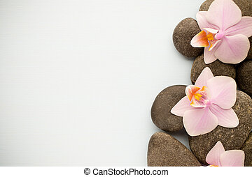 Spa - Spa stones on wooden background with orchids