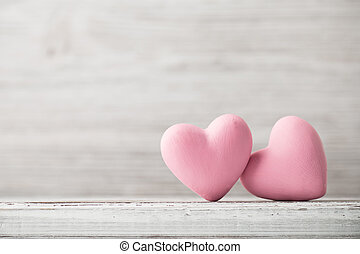 Heart. - Pink heart on the wooden background. Provencal...