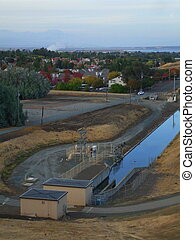 Water Treatment Plant - Close up of the water treatment...