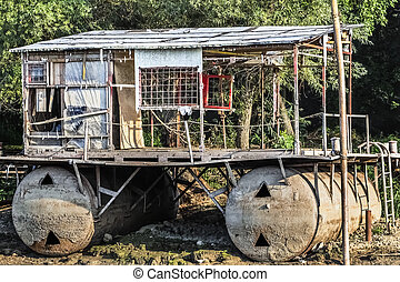 Old Raft Shack On Sava River - Photograph of an old,...