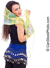 Portrait of a beautiful belly dancer with shawl isolated on...