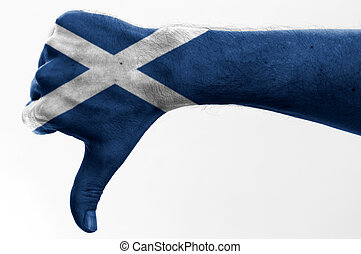 thumb down scotland - thumb down with digitally body-painted...