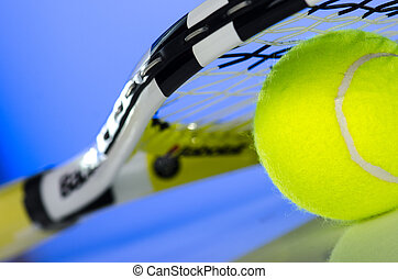 Tennis ball and racket - Tennis ball and a racket on it...