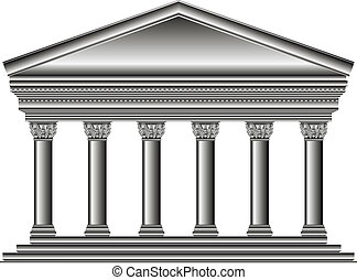 Corinthian temple isolated on white background.