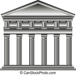 Doric temple isolated on white background.