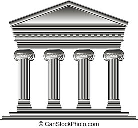 Ionic temple isolated on white background.