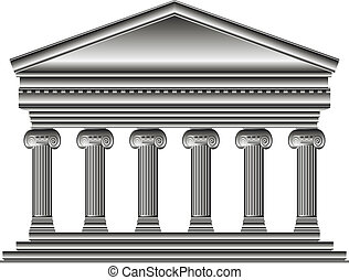 Ionic temple isolated on white background