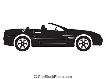 Black Convertible Car Vector Illust