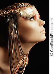 delectable - Art project: beautiful woman with golden...