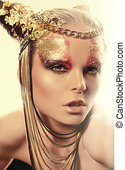 expensive life - Art project: beautiful woman with golden...