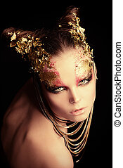 marvelous - Art project: beautiful woman with golden make-up...