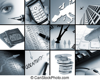 Business concepts - Twelve toned images relating to business...