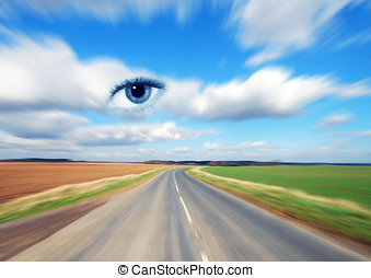 Eye on environment - Zoom effect applied to country road...
