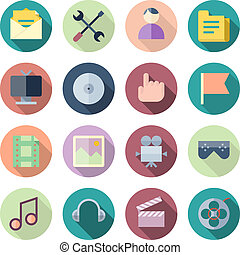 Flat Design Icons For User Interface Vector illustration...