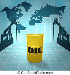 The price of oil - Oil barrel on the world map with oil...