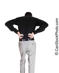 Man with heavy back pain - A young businessman standing from...