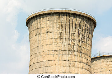 Atomic Power Plant Cooling Towers Close Up