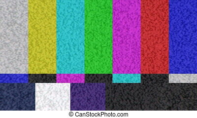 Color Bar Test Pattern - Static on a color bar test pattern...
