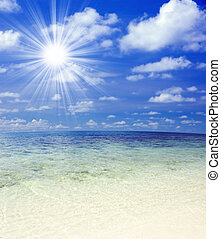 Beautiful Tropical beach with sunlight.