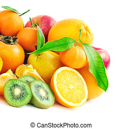 collection fruits isolated on white background...