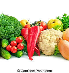 fresh fruits and vegetables isolated on white background...