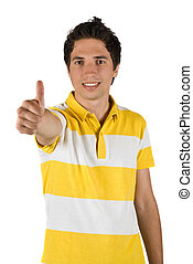 Handsome man with thumb up - Handsome young man with thumb...