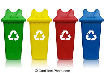 recycling bins - Types of recycling bins with bin green,...