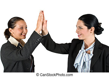 High five business woman - Two excited businesswoman team...