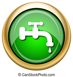 Water tap icon - Shiny glossy green and gold icon - internet...