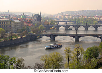 Prague bridges aerial view 02