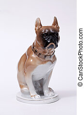 Pug Dog ceramic figurine, isolated on white