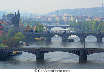 Prague bridges aerial view 04
