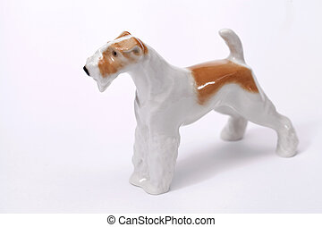 fox terrier Dog ceramic figurine, isolated on white
