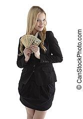 Confiado, joven, mujer de negocios, tenencia, moneda, notas,...