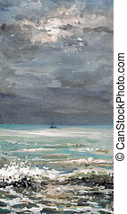 Sea - Watercolor painting of seascape -small boat on the sea...