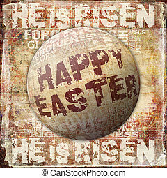 Happy Easter - Religious Words in grunge style on grunge...