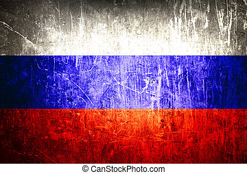 Russian flag on grunge background