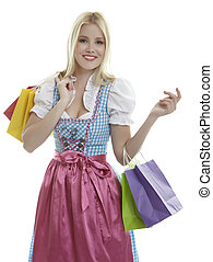 Woman in Dirndl with Shopping Bags