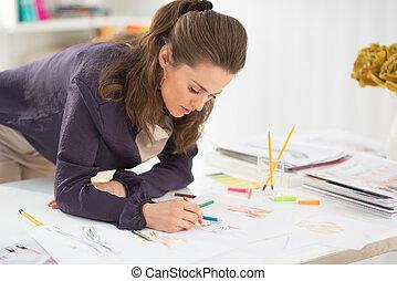 Moda, diseñador, Elaboración, dibujos, oficina