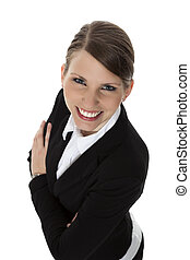 Portrait of a smiling young businesswoman from above